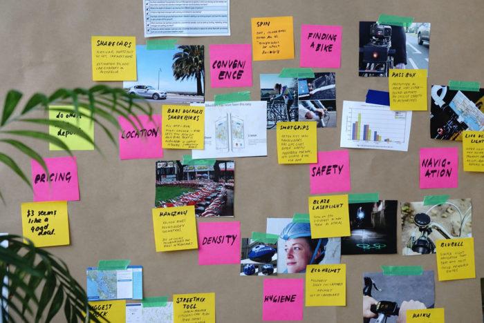 postits, proceso de trabajo en diseño ux