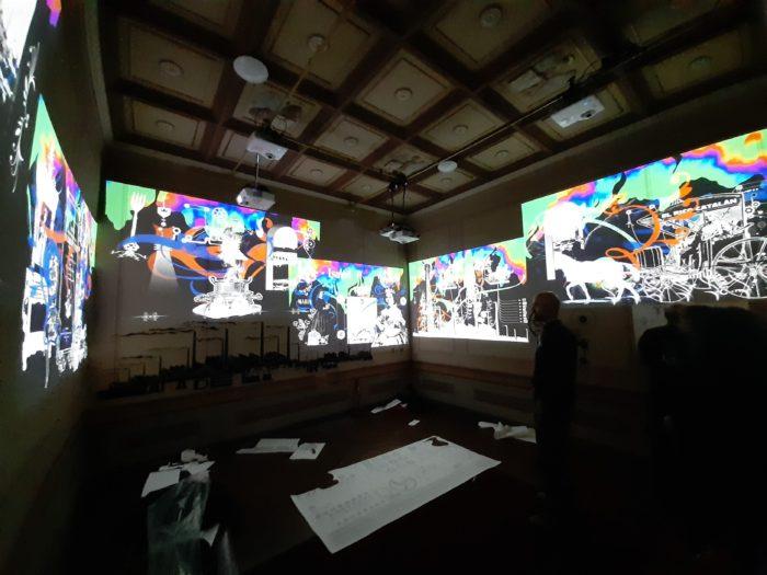 Instalación artística de videomapping con seis proyectores
