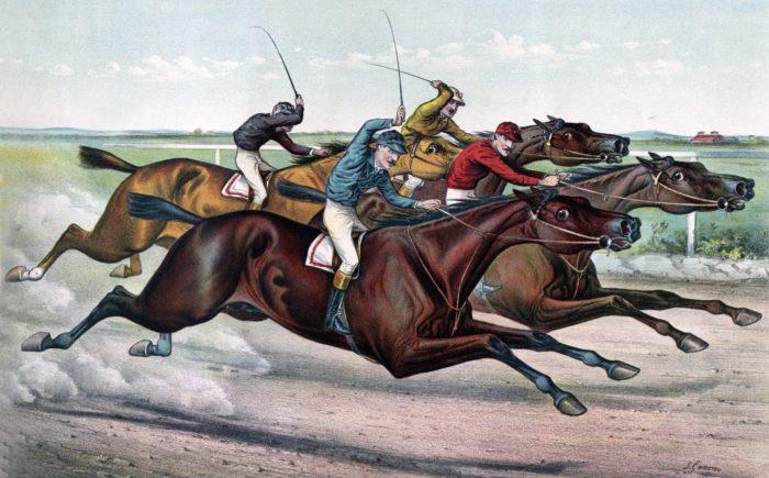 ilustración cursa caballos